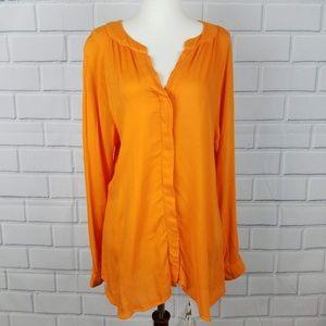 CLOTH & STONE Orange Button Down Blouse  A11-17